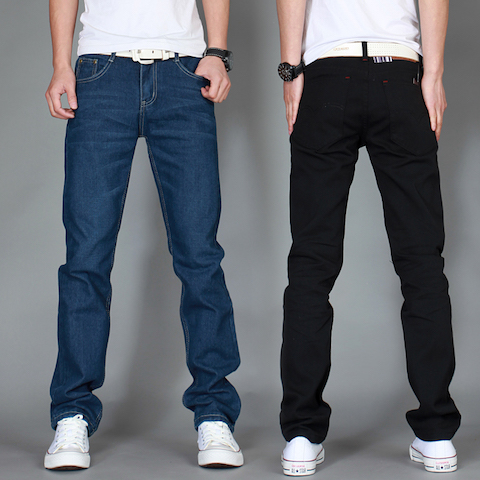 左rom夏メンズファッション高品質の商品綿ストレート青黒カジュアルジーンズ男性スラックスシンプルメンズパンツズボ